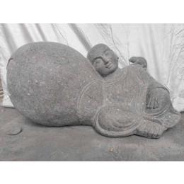 Zen Shaolin monk stone garden statue 1 m