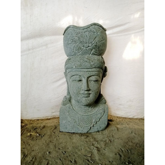 Balinese goddess volcanic rock outdoor jar statue 80 cm