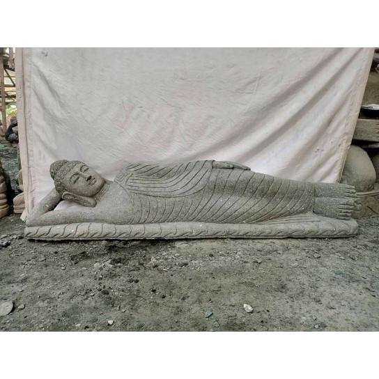 Bouddha allongé en pierre volcanique jardin zen 2 m