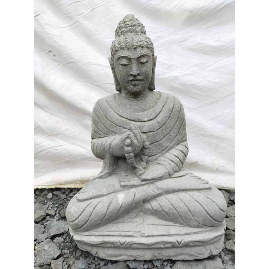 Bouddha assis en pierre volcanique position chakra avec chapelet 50 cm