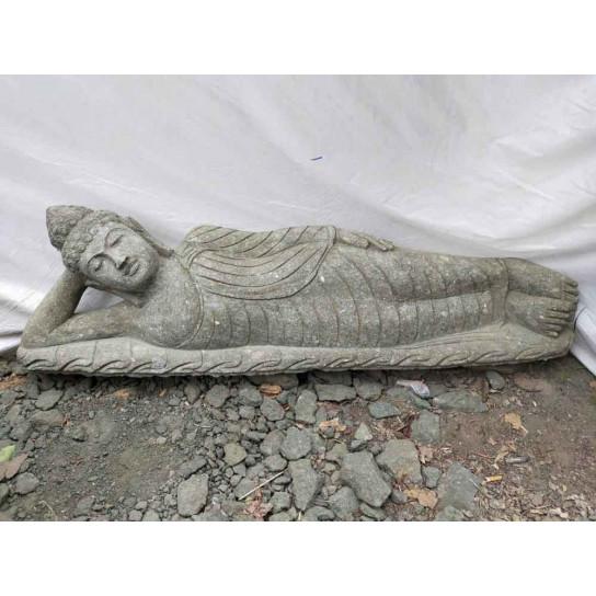 Bouddha couché statue en pierre volcanique de jardin 150 cm