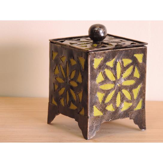 Bougeoir lampion carré olive 15cm