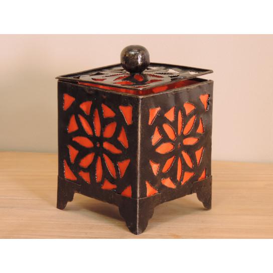 Bougeoir lampion carré orange 15cm