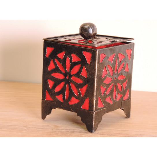 Bougeoir lampion carré rouge 15cm