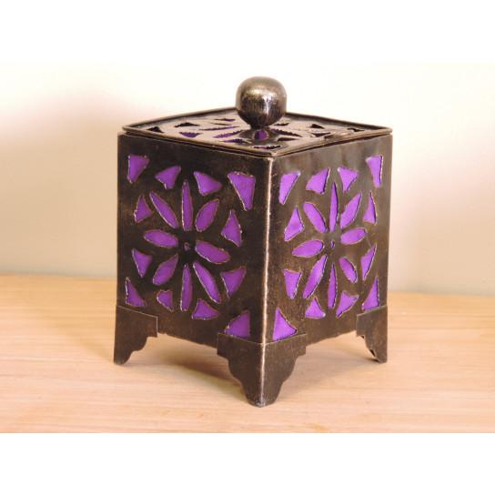 Bougeoir lampion carré violet 15cm