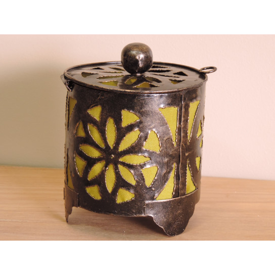 Bougeoir lampion rond olive 15cm