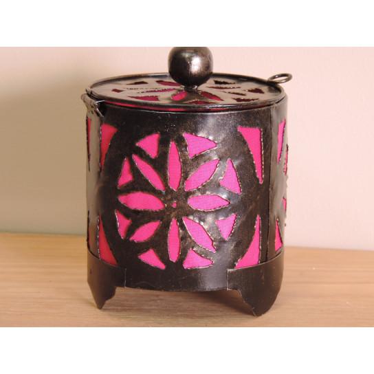 Bougeoir lampion rond rose 15cm
