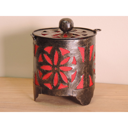 Bougeoir lampion rond rouge 15cm