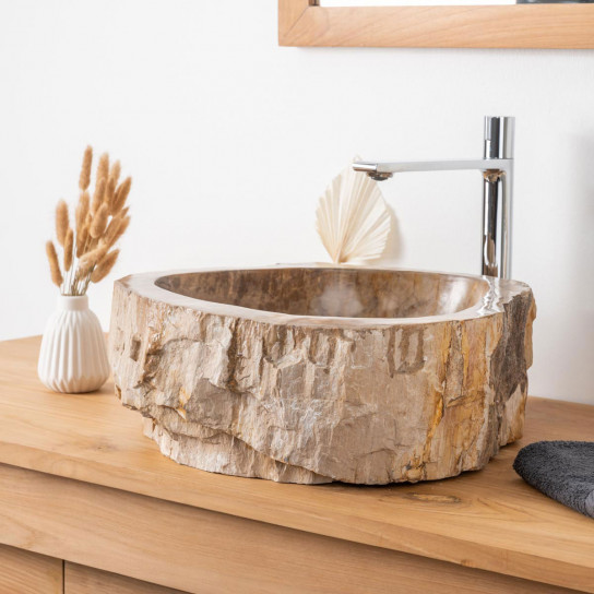 Brown inside petrified fossil wood countertop bathroom sink 45 cm
