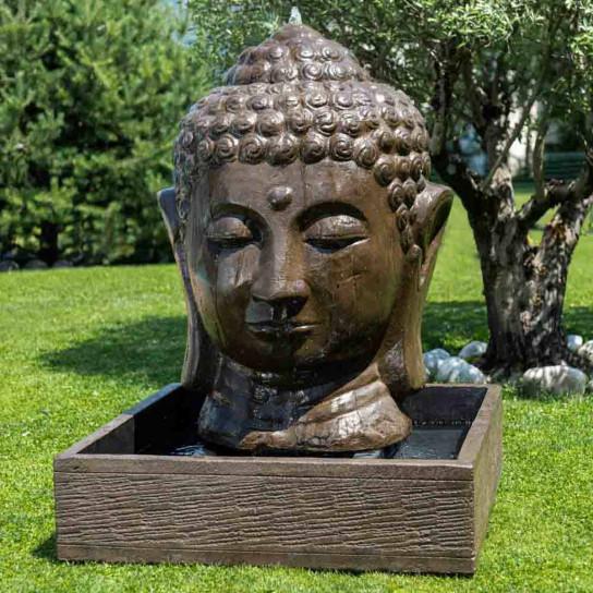 Buddha brown head garden water feature 130 cm