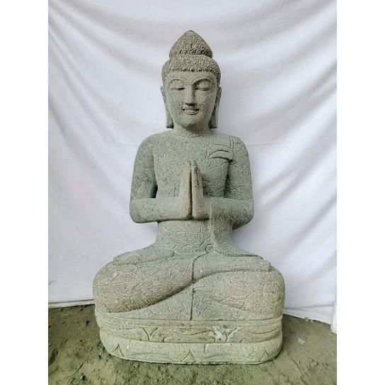 Buddha volcanic rock outdoor garden statue prayer pose 1 m