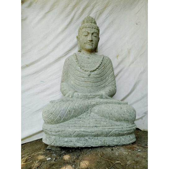 Buddha volcanic rock sculpture offering pose 1 m
