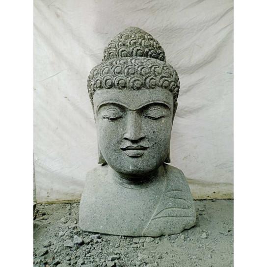 Buste de Bouddha en pierre jardin zen 40 cm