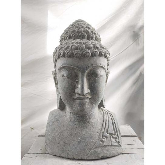 Busto de Buda de piedra volcánica exterior zen 40 cm