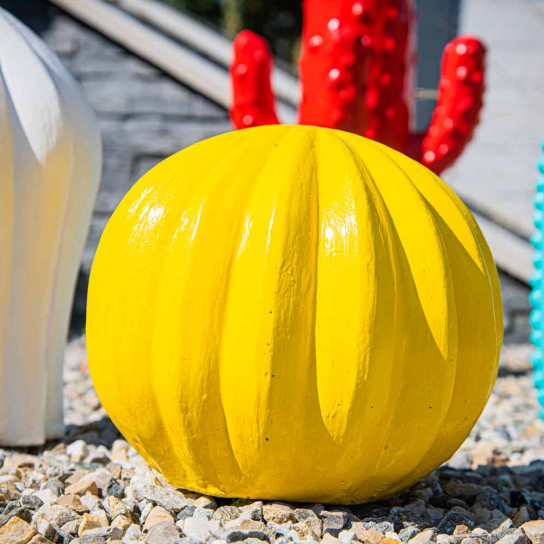 Cactus yellow ball decor statue 20cm