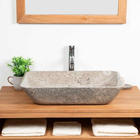 Carmen large grey marble countertop sink 60 cm