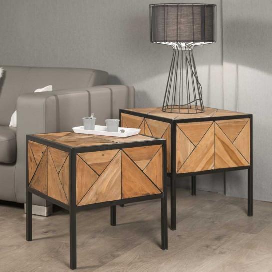 Teak coffee table : Set of 2 coffee tables, solid wood ...