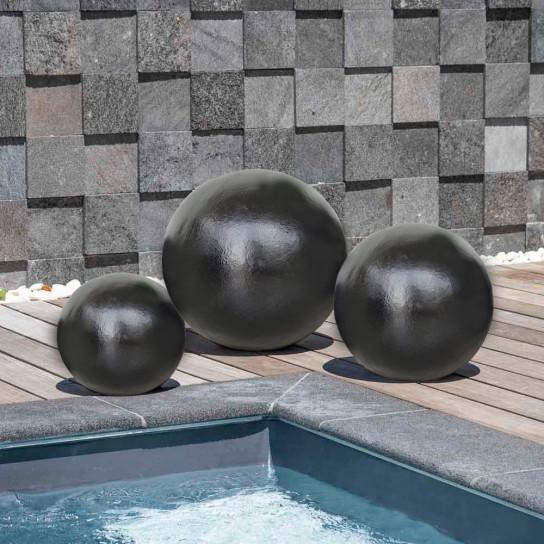 Contemporary decorative balls trio for outdoor in black