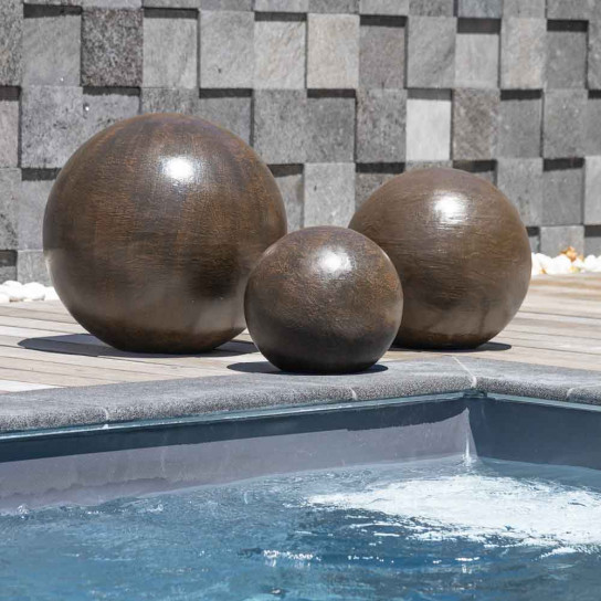 Contemporary decorative balls trio for outdoor in brown