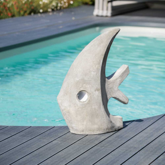 Contemporary grey fish sculpture 78 cm