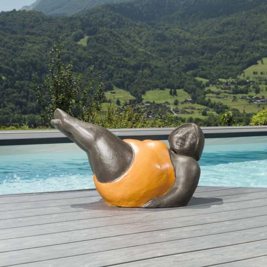 Contemporary orange woman statue 70 cm
