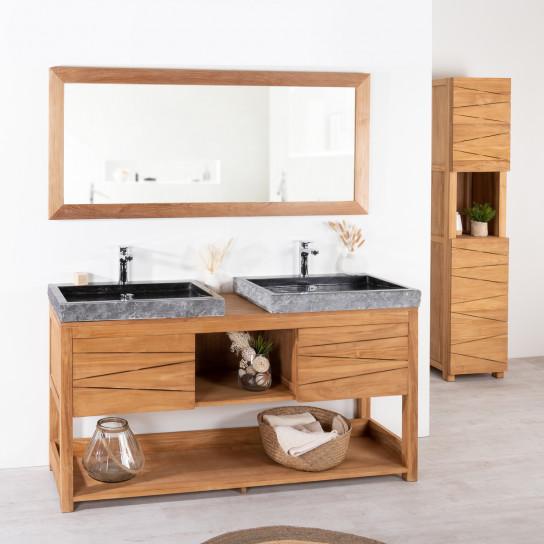 Cosy teak double-sink vanity unit.