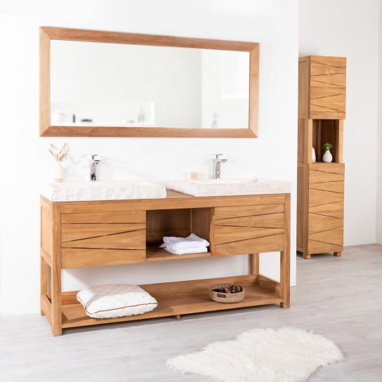 Cosy teak double-sink vanity unit and cream sinks.