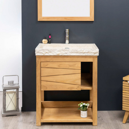 Cosy cream sink teak bathroom vanity unit.