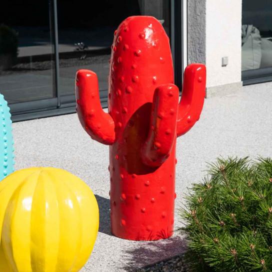 Déco jardin cactus rouge grand modèle 105cm