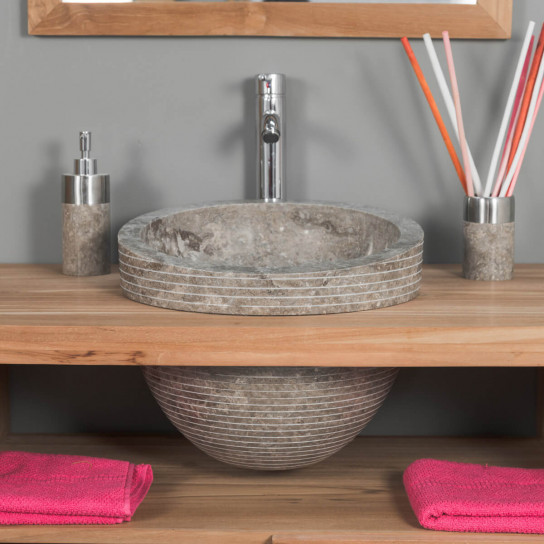 Eden taupe grey marble incline sink