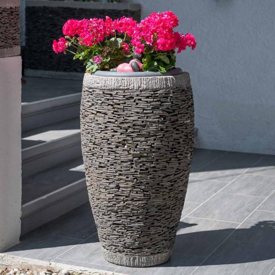 Egg-shaped natural slate garden planter 80 cm