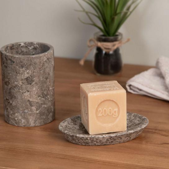 Gobelet porte savon de salle de bain en marbre gris d for Ensemble salle de bain porte savon