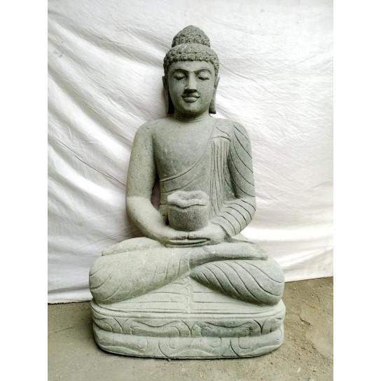 Escultura de Buda sentado de piedra volcánica en posición chakra 60 cm