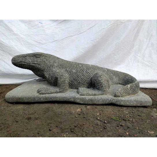 Escultura de jardín dragón del komodo en piedra 80 cm