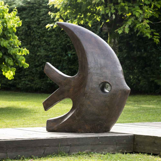 Escultura grande moderna pez 100 cm marrón