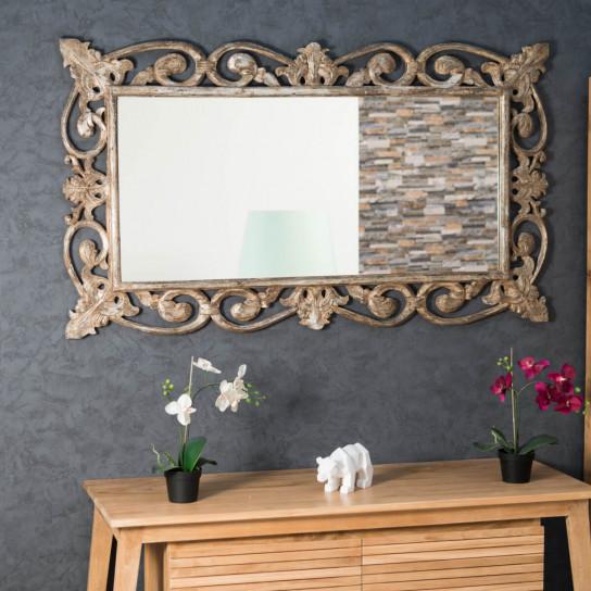 Espejo Córdoba de madera con pátina bronce 140 x 80