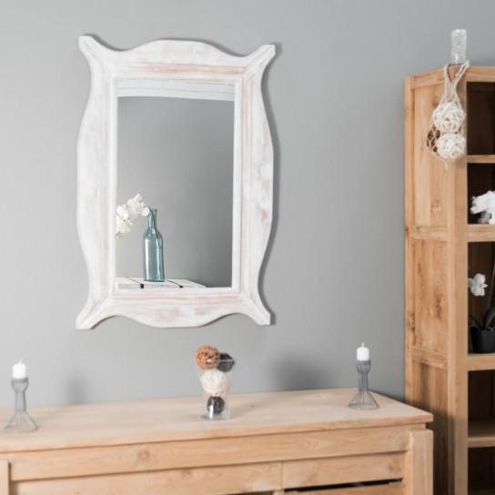 Espejo Moderno de madera con pátina lacado blanco 70 x 100 cm