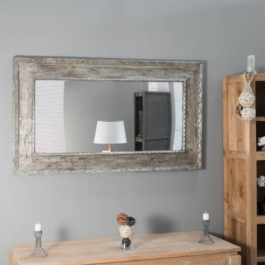 Espejo Palermo de madera con pátina bronce 140 x 80 cm