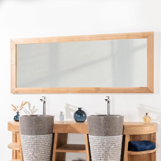 Espejo rectangular grande de teca maciza 180 x 70