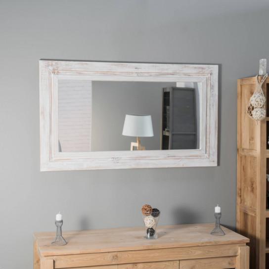 Espejo Venecia de madera con pátina lacado blanco 140 x 80 cm