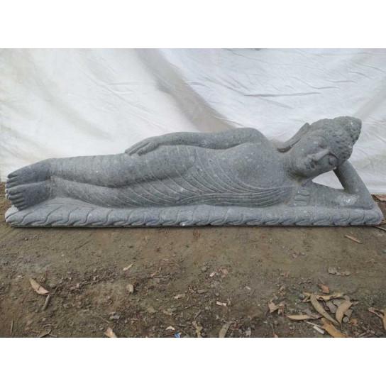 Estatua Buda tumbado de piedra volcánica para exterior 1,50 m