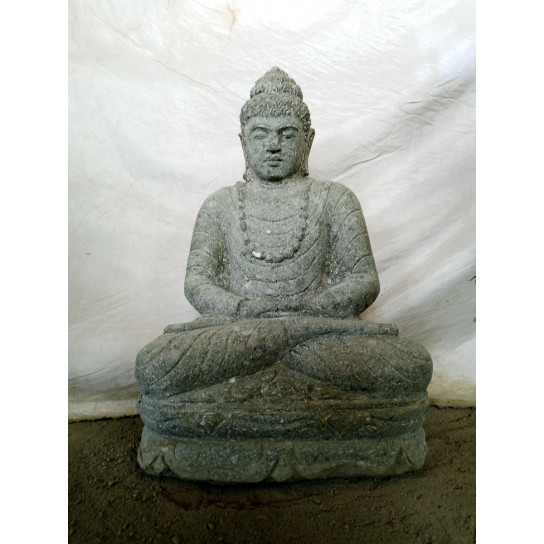 Estatua de Buda sentado de piedra jardín zen collar 50 cm