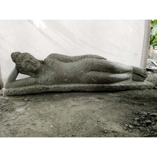 Estatua de jard n buda tumbado piedra ancho 200 cm x for Piedra volcanica para jardin