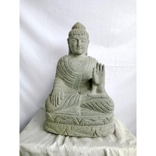 Estatua jardín exterior Buda sentado piedra volcánica abhaya mudrã 50 cm