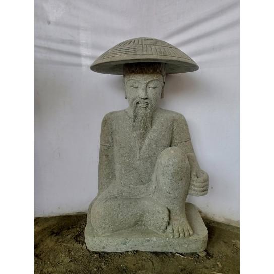 Estatua pescador japonés piedra volcánica de 80 cm