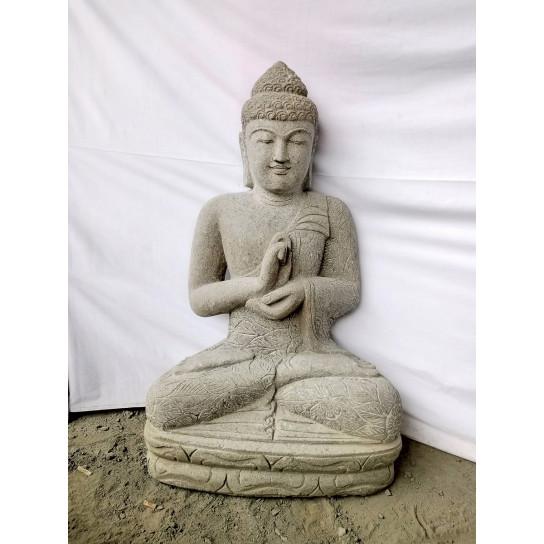 Estatua zen Buda piedra volcánica posición Chakra 1 m