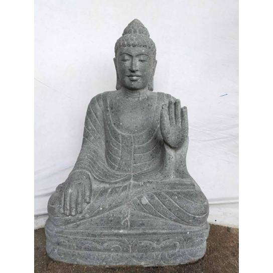 Estatua zen de piedra buda posición meditacion jardín 80cm