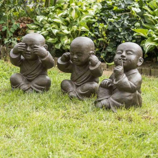 Estatuas monje de la sabiduría con pátina marrón envejecido 40 cm