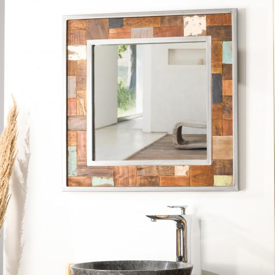 Factory wood and metal bathroom mirror 70 x 70