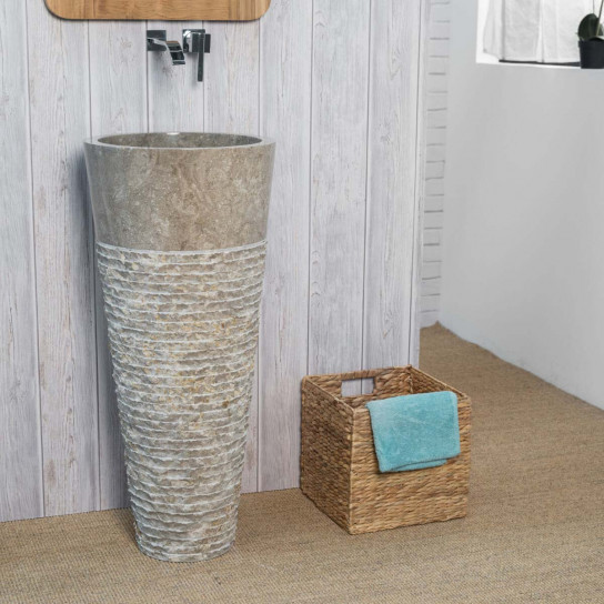Florence grey marble pedestal bathroom sink